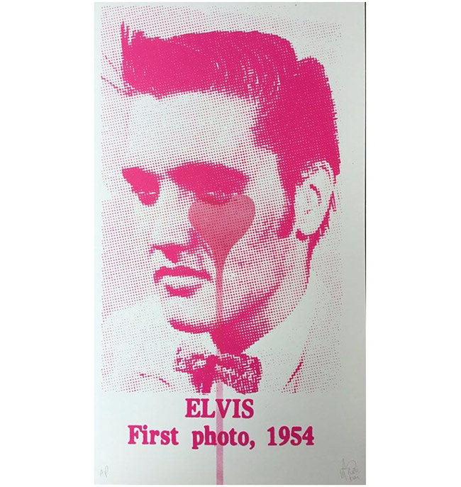 """Elvis first photo 1954, pink heart"" by Pure Evil"