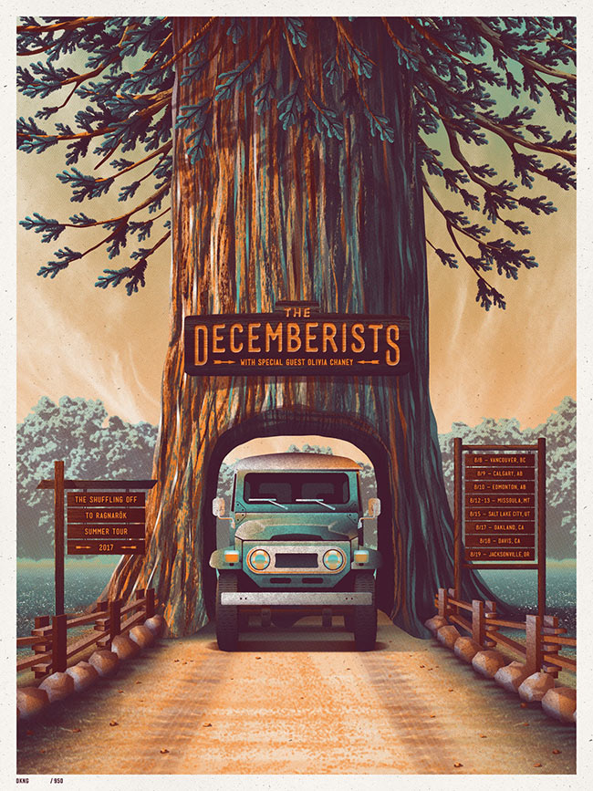 """The Decemberists – 2017 Tour"" new print by DKNG"